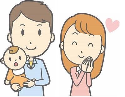 赤ちゃんが産まれた夫婦のイラスト